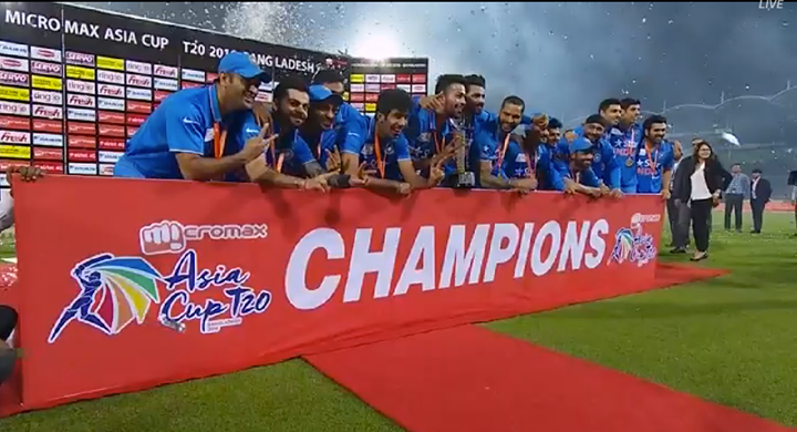 We came, we played, we conquered!  Champions of the 2016 T20 Asia Cup title #TeamIndia