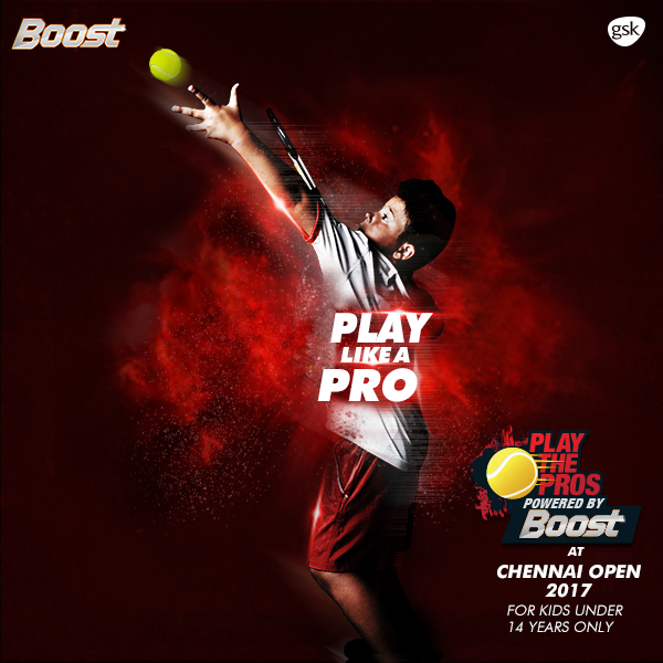 Step up your stamina to step up your game. Good luck to all kids who are going to #PlayThePros at the #ChennaiOpen 2017. Boost Energy