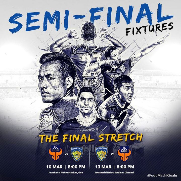 Chennaiyin FCCongratulations on reaching ISL- Indian Super League Semi-Finals. All the best for the Race to the Finals.   Go, Get It Team!!! # #PoduMachiGoalu