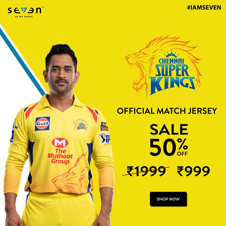 Cheer for the Lion's In Style! Flat 50% Off on Offical CSK Match Jersey. Seven by MS Dhoni is the Official Merchandise Partner for Chennai Super Kings. #IAMSEVEN #MSD #Thala #WhistlePodu #Yellove Shop Now-  http://www.7.life/sf/product-category/csk/?orderby=date