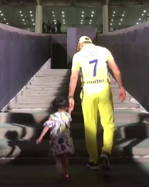 Ziva gives me company for the last walk to the Pune dressing room for this season.thanks a lot PUNE for supporting us and turning the whole stadium yellow,hope CSK entertained you guys enough