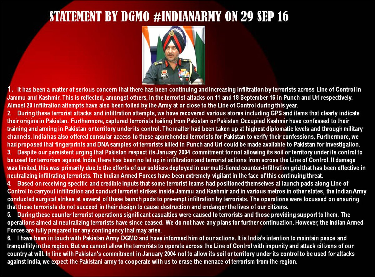 RT @adgpi: Statement by DGMO #IndianArmy on 29 Sep 16 https://t.co/ckYOApWcHQ